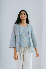 Orked Top in Blue Floral