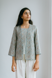 Orked Top in Ash Green Floral