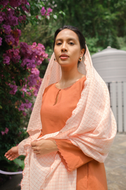 Madame Kurung Set in Burnt Orange with Embroidered Scarf