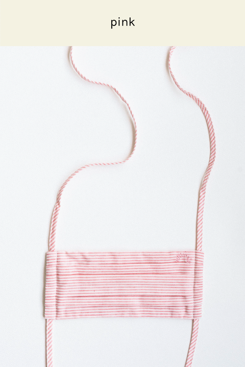 String Face Mask in Pink Stripes
