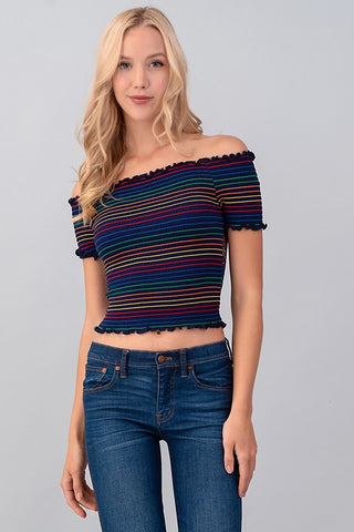 CHASE THE RAINBOW CROPPED TOP - Retro Cactus Boutique