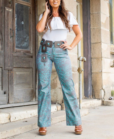 Turquoise Tooled Trousers