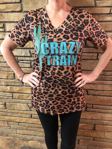 Crazy Train Leopard Tee - Retro Cactus Boutique