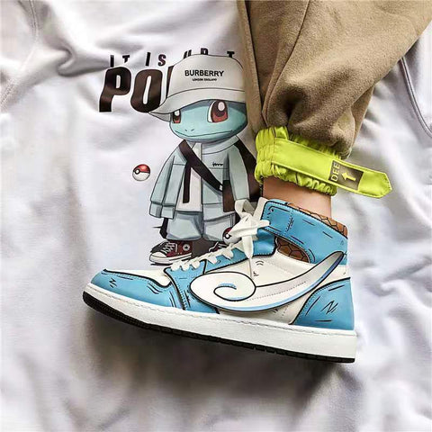 Personalized cartoon stitching high-top sneakers