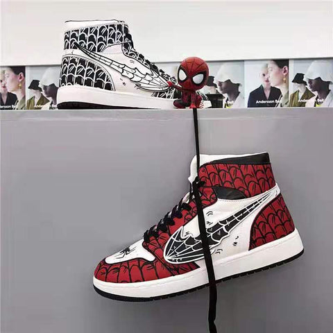 Men Fashion High-top DIY Hand Drawn Spider Sneakers
