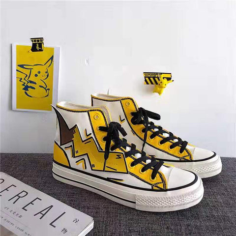 Men's high-top graffiti canvas shoes