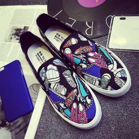 Men's Casual Graffiti One-Piece Flats