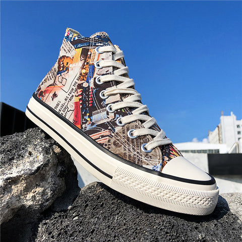Men's casual graffiti high canvas shoes