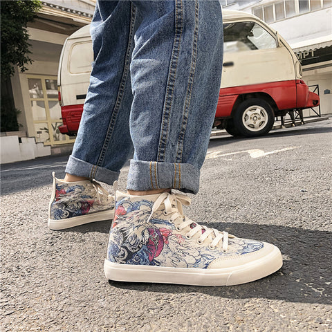 High-top Lace-up Graffiti Fashion Men's Casual Shoes