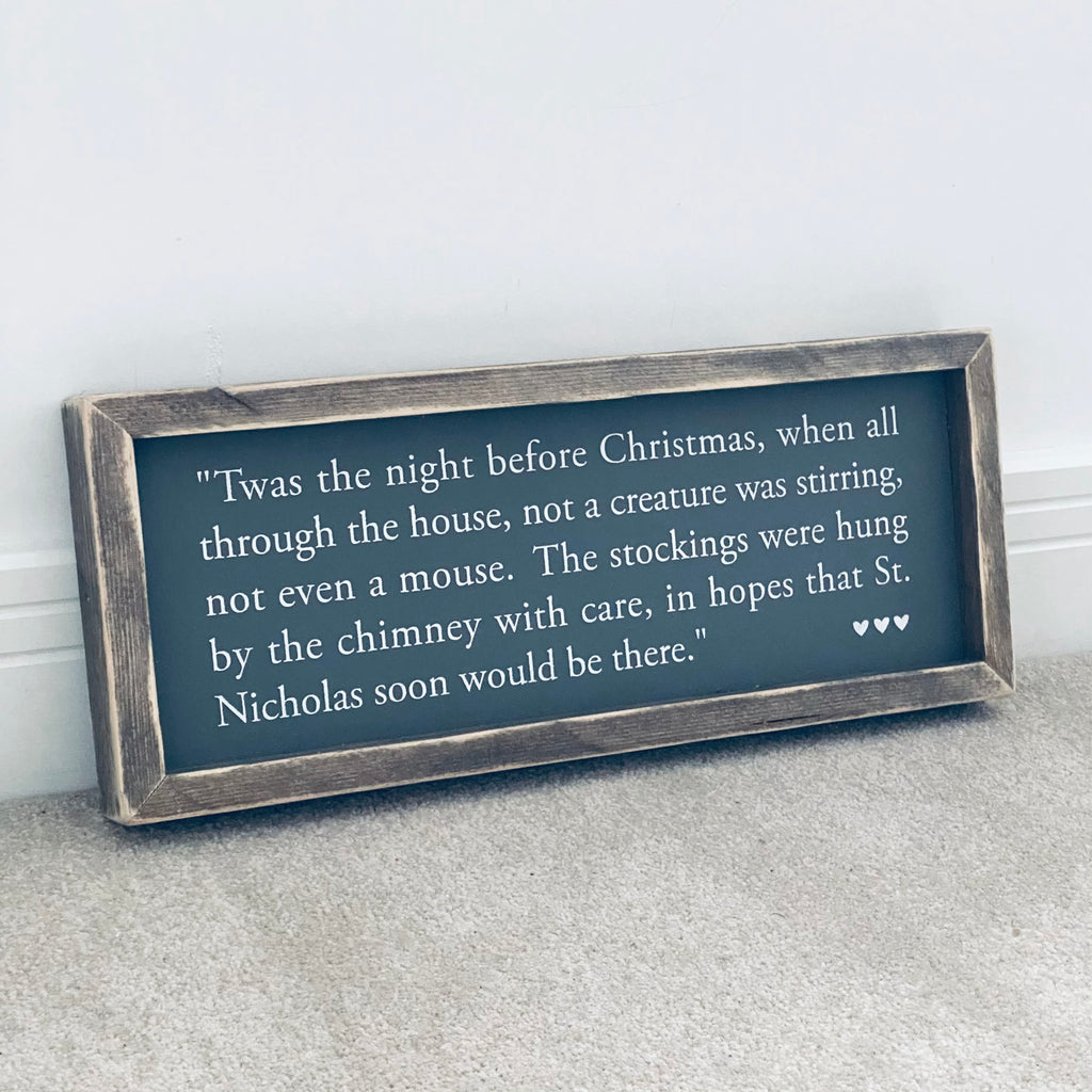 Twas the night before Christmas | Framed Wood Sign