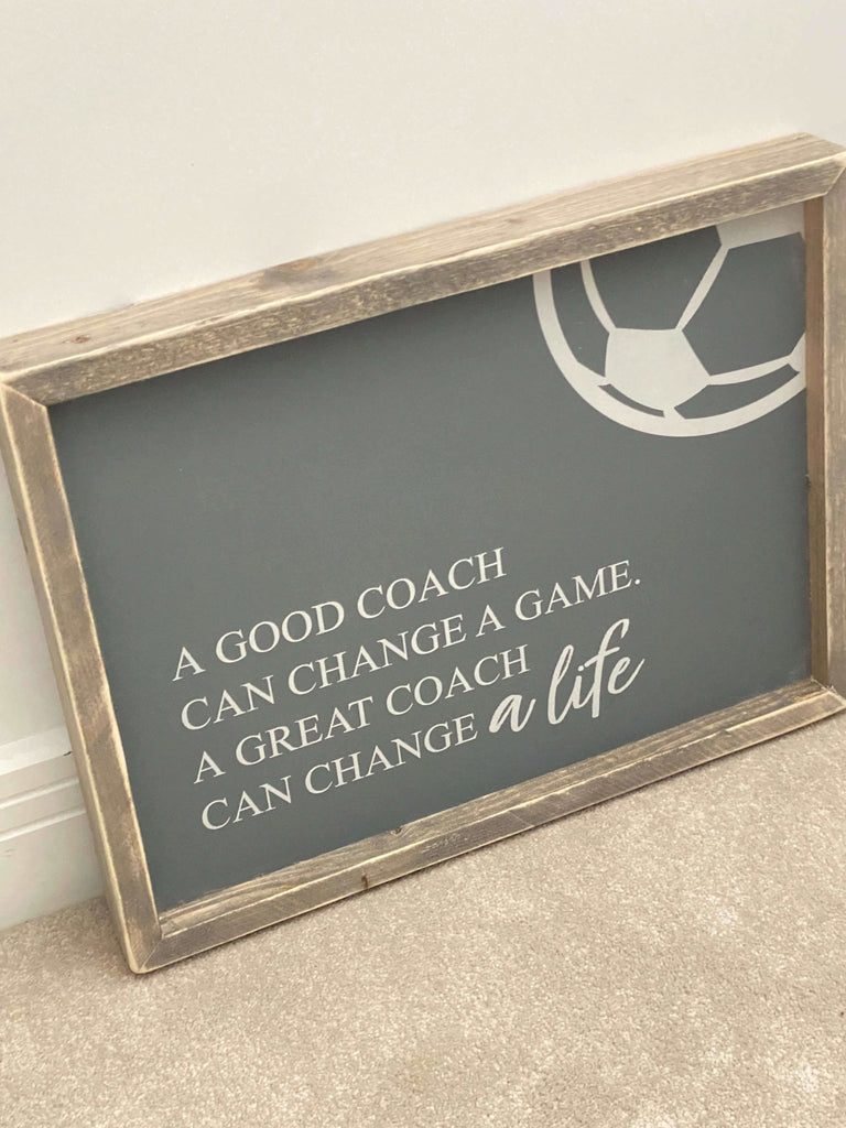 A Good Coach | Framed Wood Sign - The Imperfect Wood Company - Framed Wood Sign