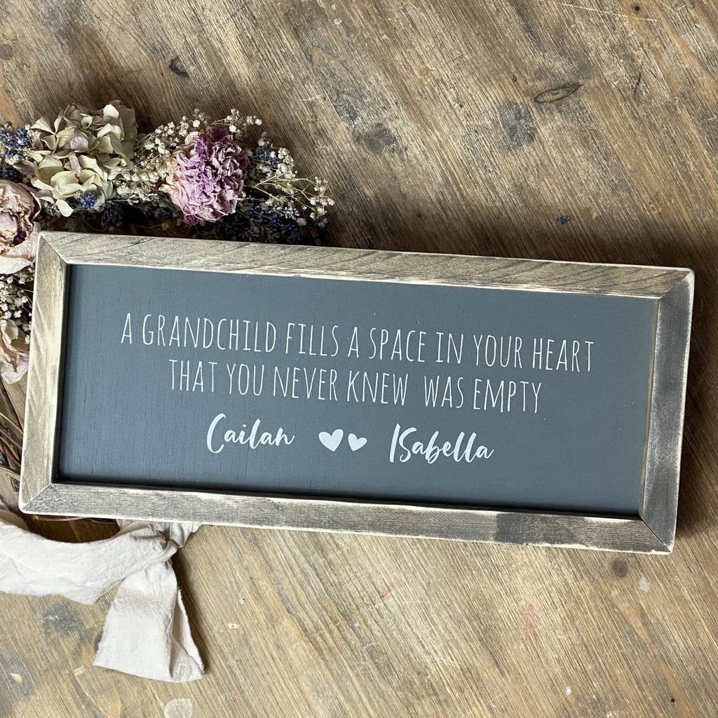A Grandchild Fills A Space | Framed Wood Sign | Personalised - The Imperfect Wood Company - Framed Wood Sign