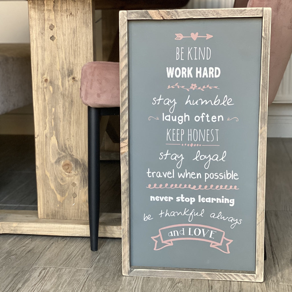 Be Kind | Framed Wood Sign | #SMIRA - The Imperfect Wood Company - Framed Wood Sign