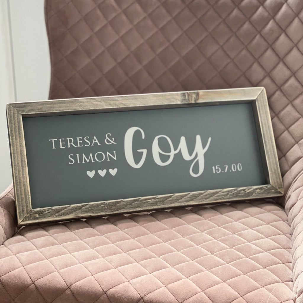 Couples Sign | Framed wood sign | Personalised - The Imperfect Wood Company - Framed Wood Sign