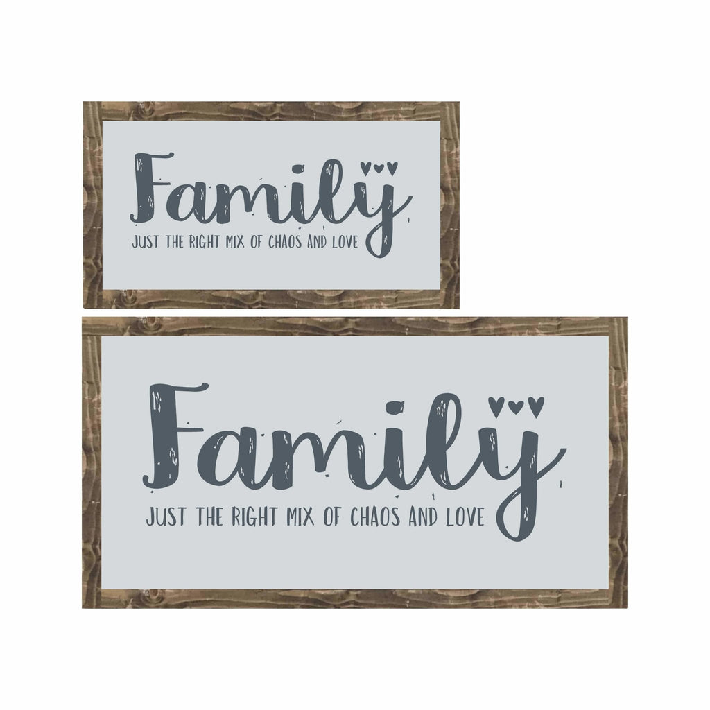 Family - just the right mix of chaos & love | Framed wood sign | #BrainTumourResearch - The Imperfect Wood Company - Framed Wood Sign
