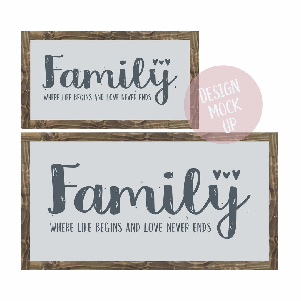 Family - Where Life Begins | Framed Wood Sign | #BrainTumourResearch - The Imperfect Wood Company - Framed Wood Sign