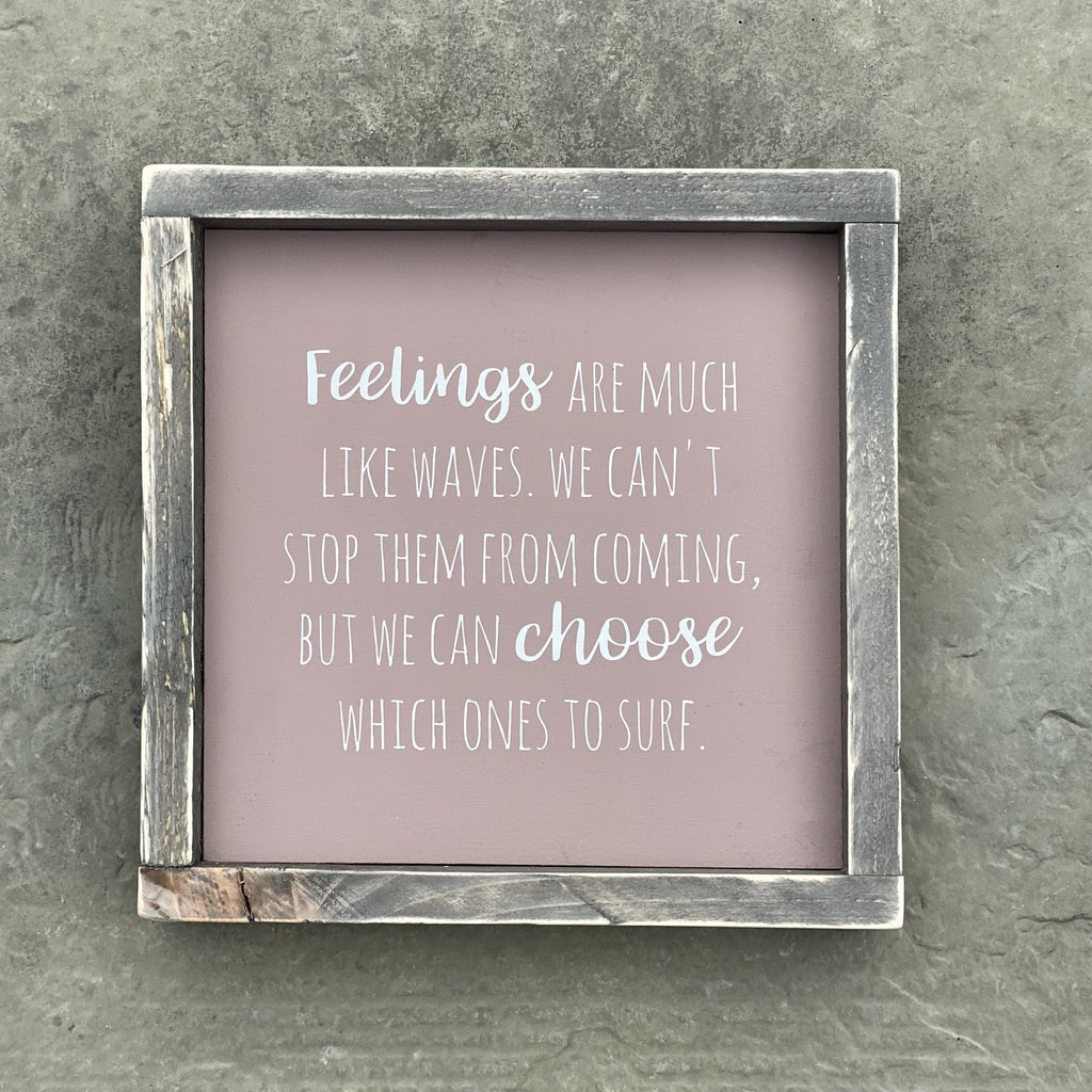 Feelings | Framed Wood Sign | #BrainTumourResearch - The Imperfect Wood Company - Framed Wood Sign