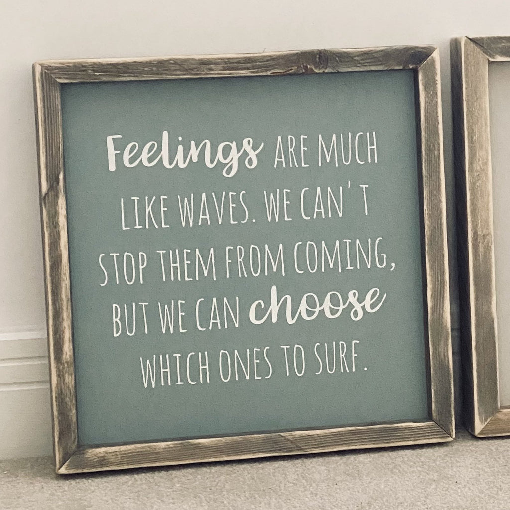 Feelings | Framed Wood Sign | Duck Egg | Ready Now - The Imperfect Wood Company - Framed Wood Sign