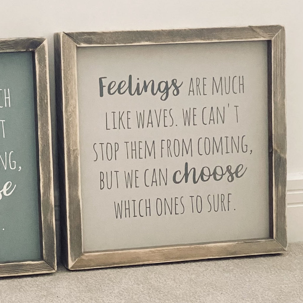 Feelings | Framed Wood Sign | Ready Now - The Imperfect Wood Company - Framed Wood Sign