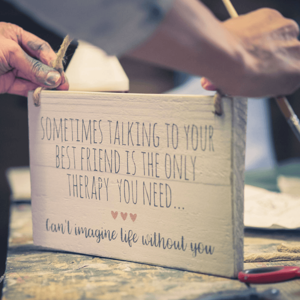 Friend Therapy | Hanging Wood Sign | #MIND - The Imperfect Wood Company - Hanging Wood Sign