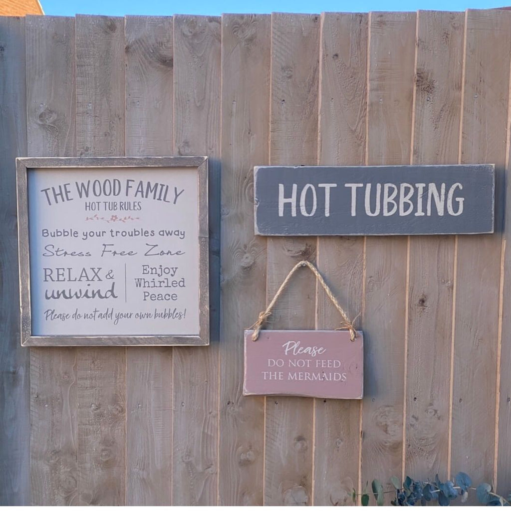 Hot Tubbing | Long Wood Sign - The Imperfect Wood Company - Hanging Wood Sign