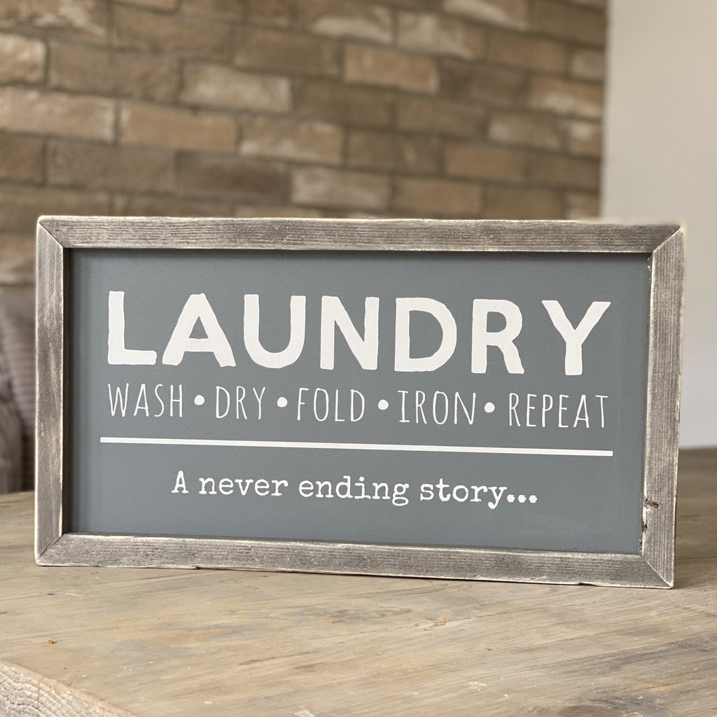 Laundry... a never ending story | Framed wood sign - The Imperfect Wood Company - Framed Wood Sign