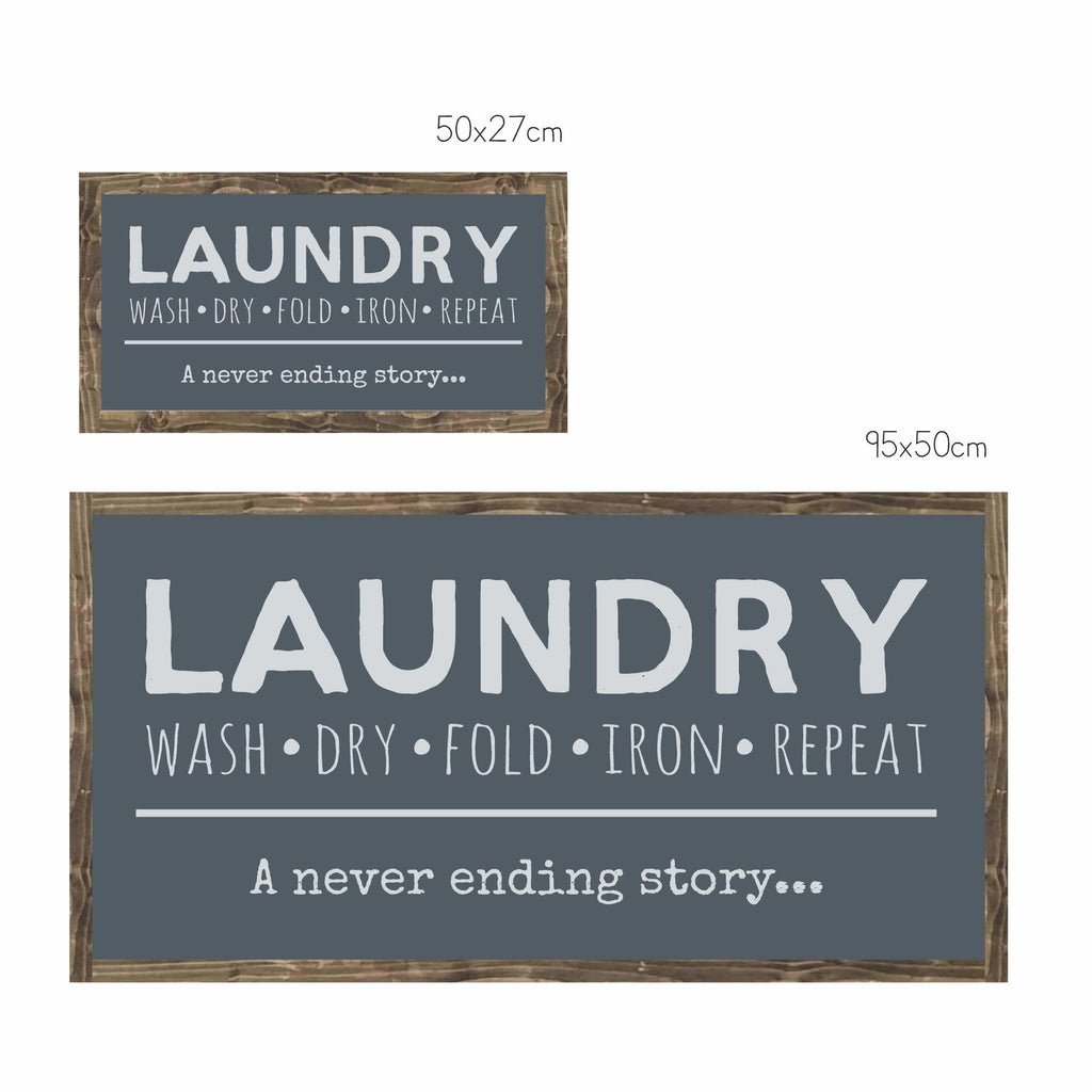 Laundry... a never ending story | Framed Wood Sign - The Imperfect Wood Company -