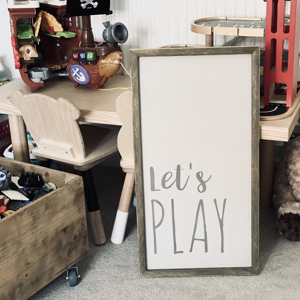 Let's Play | Framed Wood Sign - The Imperfect Wood Company - Framed Wood Sign
