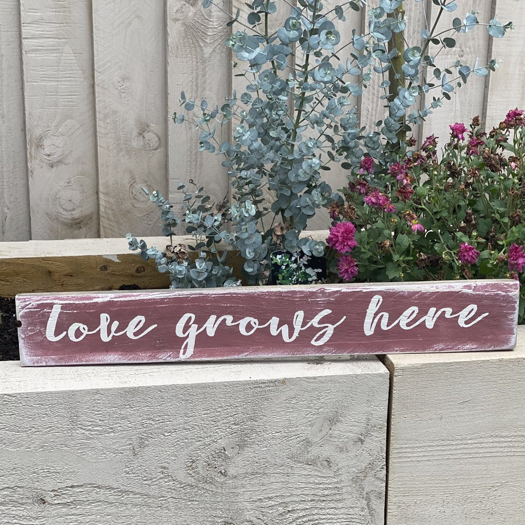 Love Grows Here | Reclaimed Wood Sign | Ready Now - The Imperfect Wood Company - Reclaimed Wood Sign