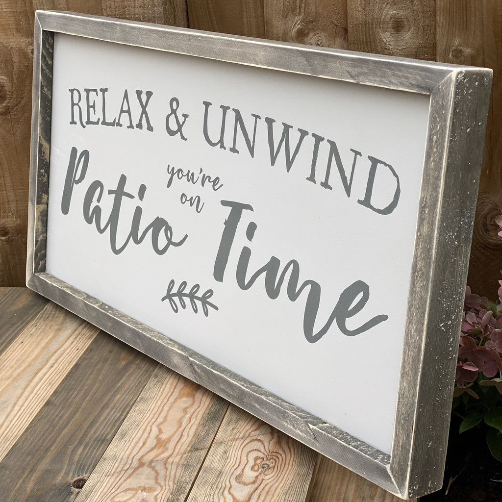 Patio Time | Framed Wood Sign - The Imperfect Wood Company - Framed Wood Sign
