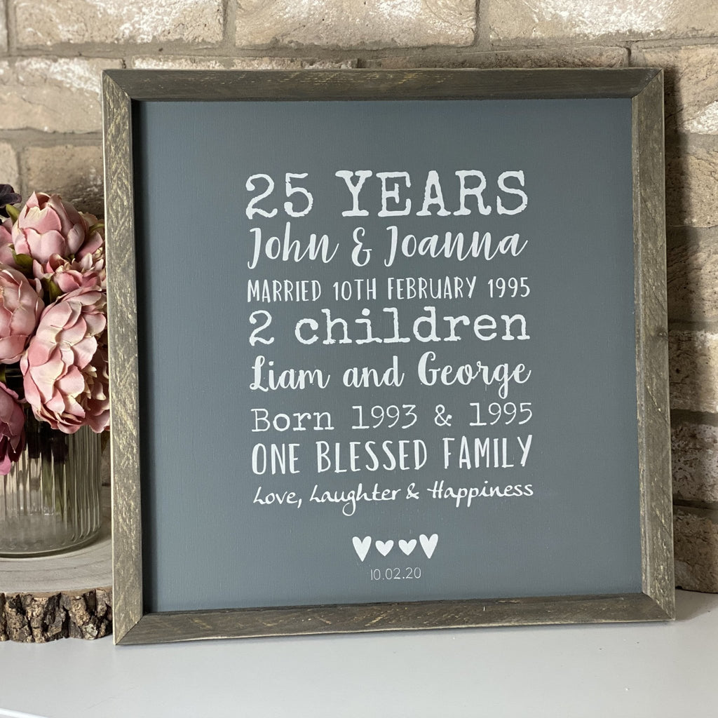 Personalised 25th Anniversary sign | Framed Wood Sign - The Imperfect Wood Company - Framed Wood Sign