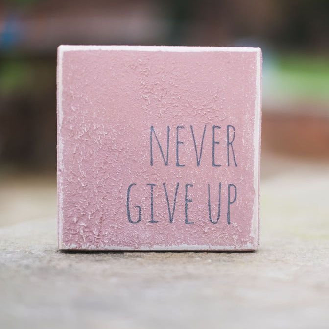 Reclaimed Wood Mini Sign | Never give up - The Imperfect Wood Company - Mini wood sign