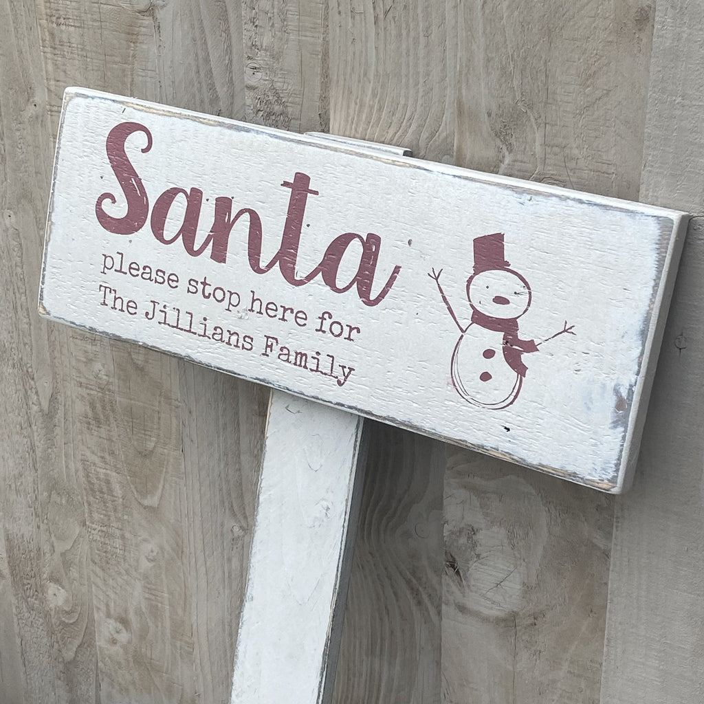 Santa Please Stop Here | Reclaimed Wood Sign | Personalised - The Imperfect Wood Company - Reclaimed Wood Sign