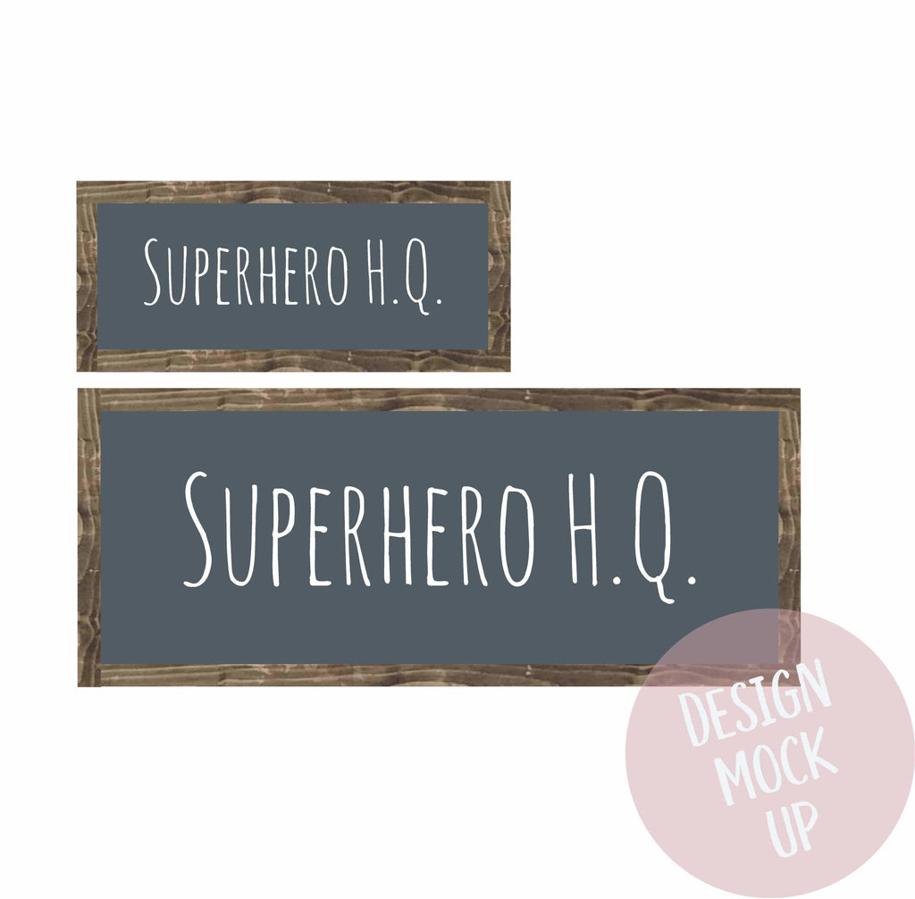 Superhero HQ | Framed Wood Sign - The Imperfect Wood Company - Framed Wood Sign