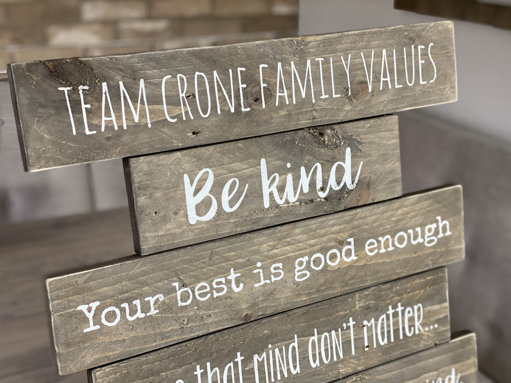 Wood Planked Sign | Family Rules | Personalised - The Imperfect Wood Company - Planked Wood Sign