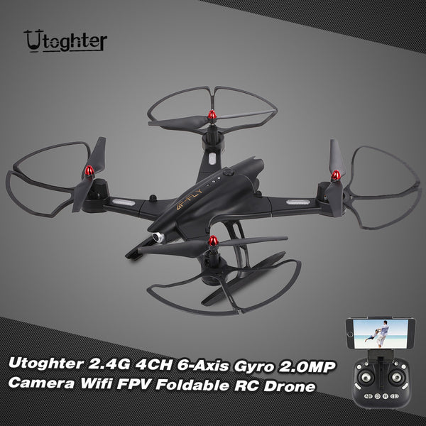 Utoghter 69508 2.0MP Wide-angle Camera Wifi FPV Foldable RC Drone 2.4G 4CH 6-Axis Gyro G-sensor Selfie Drone RTF Quadcopter