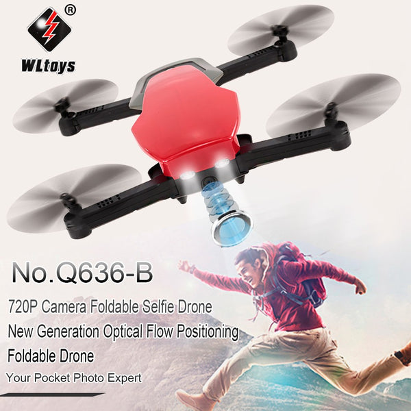 Wltoys Q636-B 720P Wifi FPV Camera Foldable Selfie Drone G-Sensor Optical Flow Positioning Altitude Hold Drone Kids RC Toy