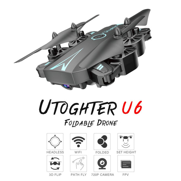 Utoghter U6 Foldable Wifi FPV Drone with Camera 720P Altitude Hold Headless Mode Training Toy Quadcopter