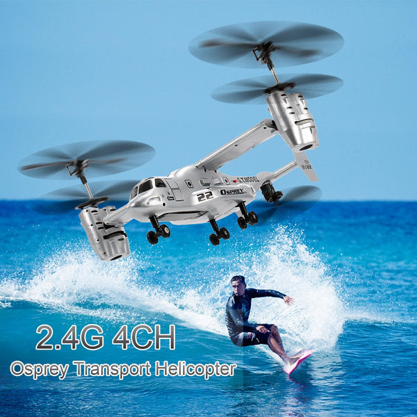 Remote Control Osprey Helicopter 2.4G 4CH Dual Axis RC Drone with Double Gyro and Headlamp for Cool Kids' Toy