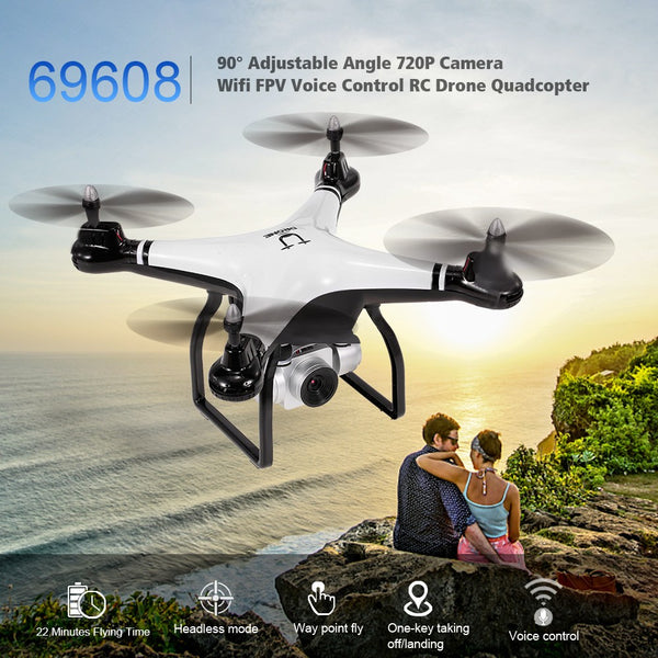 Utoghter 69608 90° Adjustable Angle 720P Camera Wifi FPV 22mins Flying Time Drone Altitude Hold One Key Return Voice Control RC Drone Quadcopter Kids Gift Toy