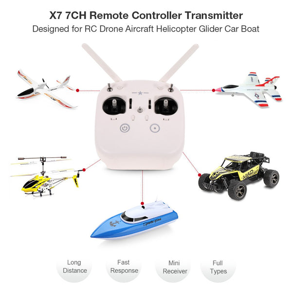 X7 7CH Remote Controller Transmitter with SZ007 Receiver for DIY Drone Quadrocopter Multirotor Aircraft RC Helicopter