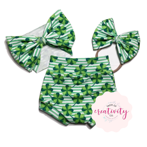 Bummies, Headwrap and Nylon Bow (Bullet) - Shamrock & Stripe Cutie
