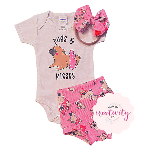 Bummies, Onesie and Nylon Bow (Bullet) - Pugs and Kisses