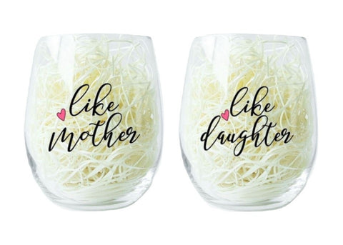 Wine Glass Set - Like Mother, Like Daughter - Taste Of Creativity CO.