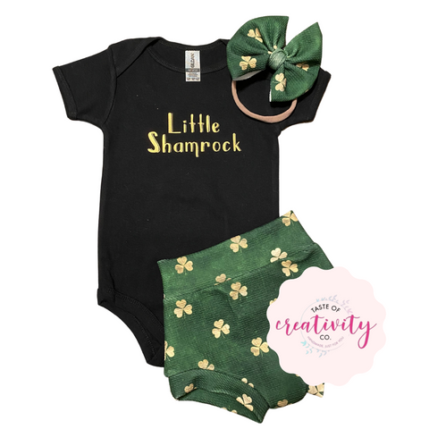 Bummies, Onesie™ and Nylon Bow (Bullet) - Little Shamrock