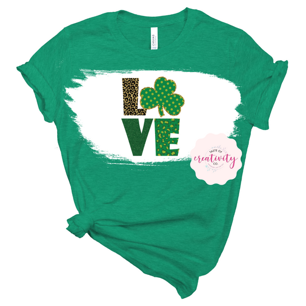 Sublimated Bleached Tee - St. Pat's Leopard Love