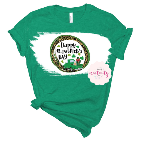 Sublimated Bleached Tee - Happy St. Pat's Day Leopard