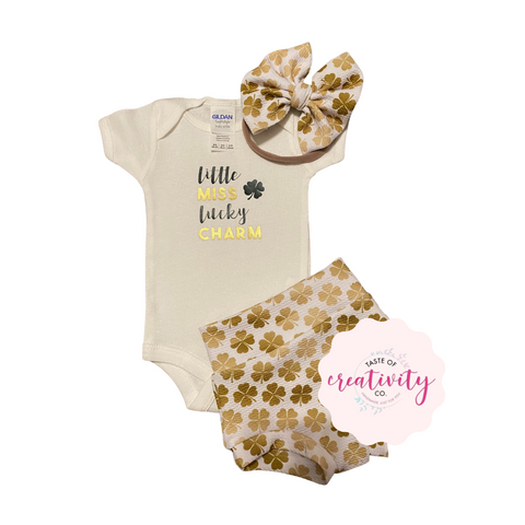 Bummies, Onesie™ and Nylon Bow (Bullet) - Little Miss Lucky Charm