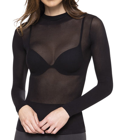 sheer top closed neckline