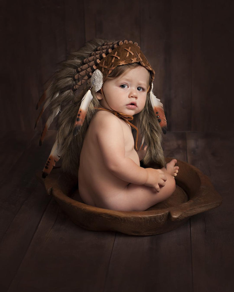 N04- For 9 to 18 month Toddler / Baby: three colors Brown Native American Style Indian Headdress .for the little ones !